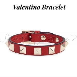 NWT's & BOX Valentino Red Leather Bracelet